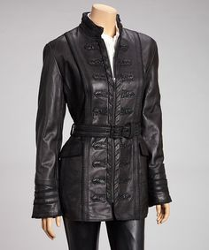 Take a look at this Black Belted Leather Jacket - Women by Ebene on #zulily today!