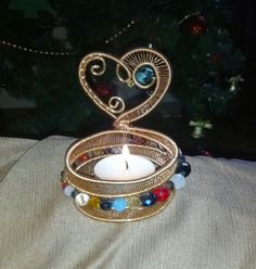 wire wrapped beaded candle holder/ tea light holder by 2wired, $35.00