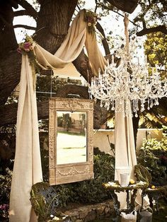 GORGEOUS use of fabric, mirror, and chandelier for an outdoor wedding decor Outdoor Wedding Altars, Wedding Ceremony, Rustic Wedding, Our Wedding, Dream Wedding, Outdoor Ceremony, French Wedding, Elegant Wedding, Wedding Tips
