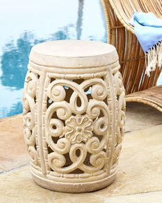Ornate Outdoor Garden Stool at Neiman Marcus.