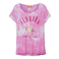 Leger geschnittenes T-Shirt von Mrs. Foxworthy in Batik-Optik.
