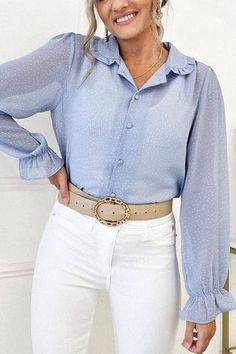White Vest Top, White Jeans, Polka Dot Print, Polka Dots, Oh Hello Clothing, Sheer Fabrics, Blue Blouse, Sleeves, Pants