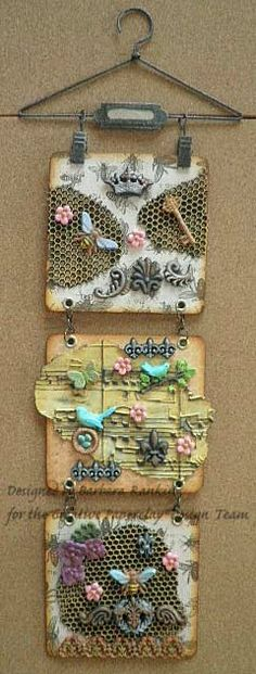 Creative Paperclay® air dry modeling material: Birds and Bees Coaster Tiles Wall Hanging