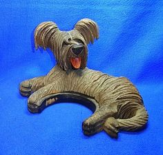 Antique German Wood Carved Dog Figurine #N