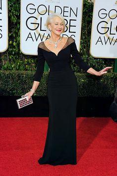 Helen Mirren in Badly Mischka at 2016 Golden Globes - A Timeless, Classic Beauty at 70.