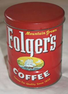 :) Folgers Coffee, Coffee Cans, Latte, Clock, Canning, Drinks, Food, Watch, Drinking