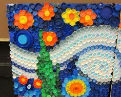 Bottle Cap Art Mural | every cap counts-our bottle cap mural