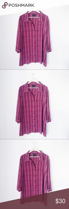 PLUS SIZE BLACK & PINK FLANNEL BUTTON DOWN TOP BUST: 31 1/2 inches. LENGTH: 31 inches. maggie barnes Tops Button Down Shirts