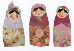 ad collaged russian dolls from Spain.I have just spent nearly 3 weeks in beautiful sunny Spain, but not being one for sunbathin. Paper Dolls, Art Dolls, Wallpaper Samples, Old Paintings, Illustrations, Whimsical Art, Vintage Images, Doll Toys, Art Lessons