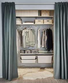 Curtain Wardrobe, Closet Curtains, Ikea Closet, Closet Bedroom, Diy Bedroom, Bathroom Closet, Closet Space, Bedroom Storage Ideas For Clothes, Bedroom Storage For Small Rooms