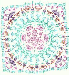 Transcendent Crochet a Solid Granny Square Ideas. Inconceivable Crochet a Solid Granny Square Ideas. Motif Mandala Crochet, Crochet Mandala Pattern, Crochet Motifs, Crochet Blocks, Granny Square Crochet Pattern, Crochet Flower Patterns, Crochet Squares, Crochet Chart, Crochet Blanket Patterns