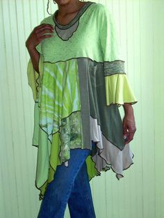 Plus Size Cool Breeze Tunic, Olive, Chartreuse and Lime Green,  2X (16-18-20-22)