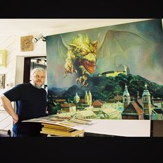 Sergej Hahonin, Ljubljana and Dragon, Oil on Canvas  Hahonin Art @hahoninart Instagram photos | #sergej_hahonin #hahonin_art #dragon #ljubljana #slovenija #slovenia #oil #art