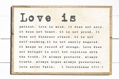 Love Is Patient Love is Kind Farmhouse Wall by WallsOfWisdomCo