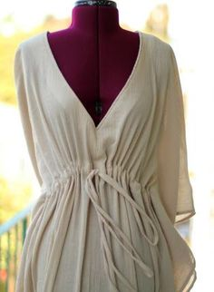 Caftan Dress in Ivory Cotton Gauze,  Dress, caftan  kaftan  muumuu  maxi dress  beach, Bohemian (Boho) / Hippie