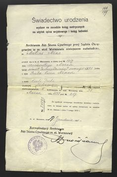 Judaica Poland WARSAW Birth Certificate MINC 1920 jewish