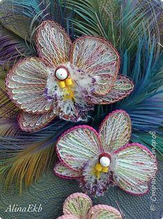 Картина панно рисунок Квиллинг Букет невесты Орхидеи Бумага Бумажные полосы Бусины фото 8