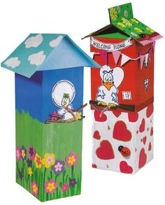 Voorbeeld: vogelhuisjes van een melkpak