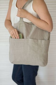 Items similar to Linen shoulder bag Bag with pockets Market bag Shoppers bag Softened linen Natural flax bag Grocery tote Farm market bag on Etsy Make Up Geek, Bag Sewing, Bag Essentials, Tote Bag With Pockets, Library Bag, Diy Jeans, Linen Bag, Fabric Bags, Market Bag
