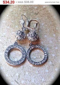 These gorgeous #vintage assemblage dangle wedding #earrings are simple yet stunning. They are made up of vintage circle components with silver tone non nickel pierced lever b... #jewelry #christmas #gifts #etsy