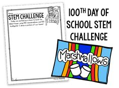 Day of School FREEBIES-by Heather--You can grab the FREE recording sheet for this STEM activity by clicking the image 100th Day Of School Crafts, School Holiday Activities, 100 Days Of School, School Holidays, Science Activities, School Fun, First Day Of School, Science Crafts, Physical Activities