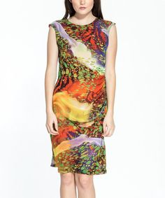 Another great find on #zulily! Red & Yellow Abstract Ruched Cap-Sleeve Dress #zulilyfinds