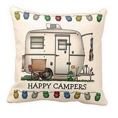 Happy Campers Throw Pillow Cover - Travel Trailer