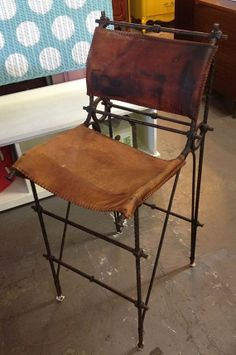 Vintage Wrought Iron Bar Stool W/ Genuine By VivosVintageDelray, $450.00