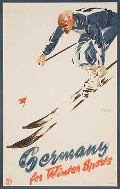 DP Vintage Posters - Germany For Winter Sports Original Ski Travel Poster