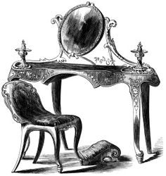 Victorian furniture illustration, vintage dressing table, black and white graphics free, old fashioned furniture, antique makeup table
