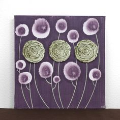 Purple and Green Art - Flower Painting - Textured Wall Art on Canvas -  via Etsy.