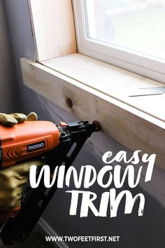 Are you wondering how to install window trim? Use this DIY tutorial to add interior trim to your home on a budget. Home Renovation, Home Remodeling, Craftsman Window Trim, Basement Windows, Interior Windows, Diy Interior Window Trim, Diy Windows, Farmhouse Windows, Diy Home Repair