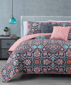 Emma Turquoise And Coral Bedding Set Full Queen 3pc