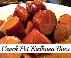 Crock Pot Kielbasa Bites -- Kielbasa or smoked sausage with sweet and tangy sauce made with apricot preserves and dijon mustard.