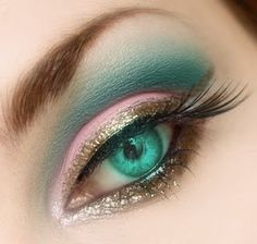 Turquoise, pink and gold eye make up #eyes #makeup