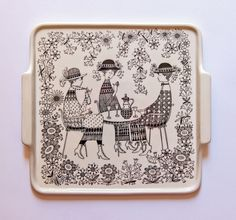 Emilia by Raija Uosikkinen for Arabia Finland - photograph Ray Garrod Ceramic Plates, Ceramic Pottery, Ceramic Art, Square Tray, Large Plates, Pottery Designs, China Painting, Elegant Homes, China Porcelain