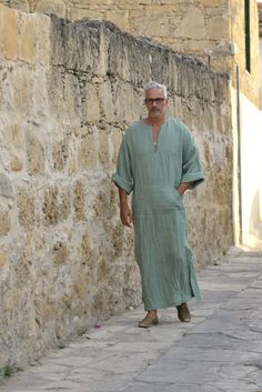 Mens linen tunic. Almond green caftan. Hood optional. by YUMEworld