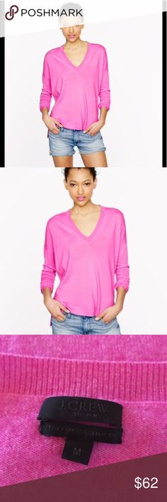 Jcrew cashmere boyfriend sweater 🌸Gorgeous Color for spring and summer!! Soft cashmere V neck sweater. Gently worn. You are gonna 💕 this sweater! It will be you best Posh buy ever 🛍🎉 jcrew Retail Sweaters V-Necks