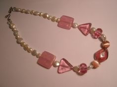Freshwater Pearl Necklace with Pink Accents. $33.00, via Etsy.