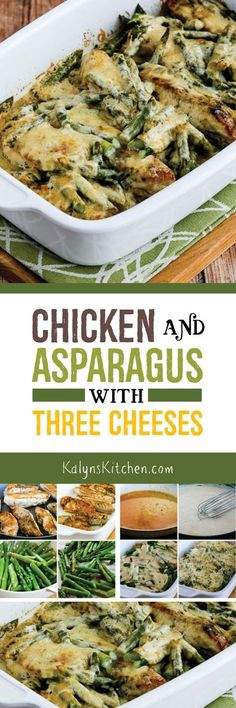 Chicken and Asparagus with Three Cheeses is an ultra-easy low-carb casserole that will make you think about spring! This delicious chicken and asparagus combination is also Keto, low-glycemic, gluten-free, and it can easily be South Beach Diet friendly. [found on KalynsKitchen.com]