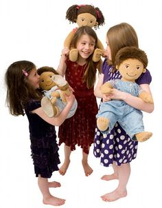 Oobicoo dolls wear old baby clothes. We have them at Petalina too