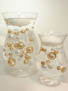 Unique Jumbo & Assorted Sizes Gold and White Pearls 80Pc. Value Pack Vase Fillers.... The Transparent Water Gels that are floating the Pearls are sold separately.... by Vase Pearlfection www.vasepearlfection.net 872.203.9810 vasepearlfection@hotmail.com