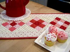 Valentines day table runner,  Little Sweethearts quilt by Kathleen Tracy   See pattern at  www.countrylanequilts.com