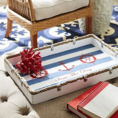 Rope edge idea for a tray. This tray is from Pier 1 (but no longer available).
