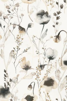 Soft and pastoral, this lovely wallpaper is the perfect mix of transitional style in a watercolor floral pattern. Featuring light-reflecting vibrancy, the ethereal pattern works great in bedrooms and living spaces. Artistic Wallpaper, Modern Wallpaper, Flower Wallpaper, Wallpaper Backgrounds, Hallway Wallpaper, Wallpaper In Bedroom, Floral Pattern Wallpaper, Neutral Wallpaper, Watercolor Wallpaper Iphone