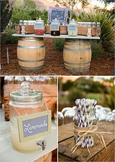 Outdoor beverages served on a wine barrell and barn wood table. Produce crates are used in the display.