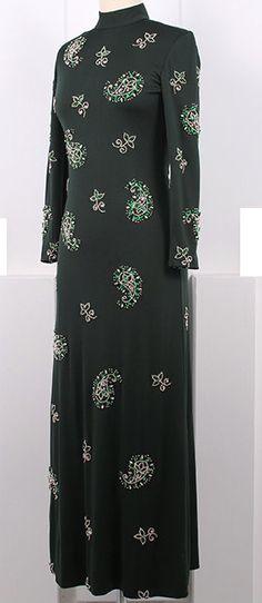 Victoria Royal - Robe Maxi 'Motif Cachemire' - Strass Vert - Années 70