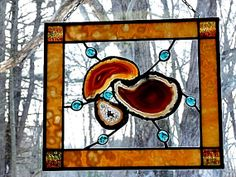 Stained Glass Panel Large Druzy Geodes Brown Rust and by miloglass, $70.00