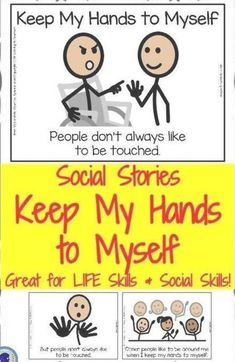 Social Story- Keep My Hands to Myself. For students with Autism, Early Elementary, or Special Education. Classroom Schedule, School Classroom, Early Finishers Activities, Math Activities, Preschool Kindergarten, Teaching Math, Early Education, Special Education, Teaching Patterns