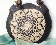 Boho Leather Festival Bag with Crochet Lace by UrbanHeirlooms